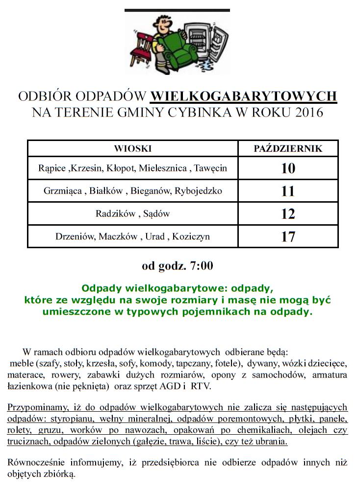 Odbiór odpadów wielkogabarytowych z terenu Gminy Cybinka